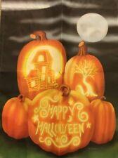 Happy Halloween Garden Flag, Moon, Jack-o-lanterns Decoration New Black/Orange