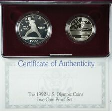 1992-S OLYMPIC 2-COIN PROOF SET SILVER DOLLAR & CLAD HALF BASEBALL & GYMNAST OGP