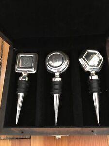 Vintage Set Monogrammed Silver plate Wine Stoppers (G)