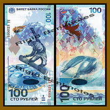 Russia 100 Rubles, 2014 P-274 Prefix-AA Commemorative Sochi Winter Olympic Unc