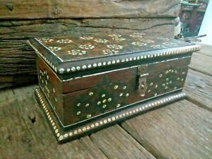Vintage Solid Wooden Beautiful Hand Painting pen / Storage Box