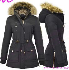 NEW Womens MILITARY LADIES PARKA COAT Quilted WINTER JACKET WARM FUR H Size 8-16