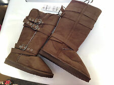 BNWT Ladies Sz 6 Rivers Doghouse Long Mid Brown Buckle Detail Slipper Boots