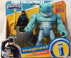 "Imaginext DC Super Friends Deluxe 2 Figure Set BATMAN & 7"" KING SHARK hammerhead"