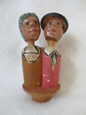Vintage Hand Carved and painted Wood Kissing Couple Bottle Stopper