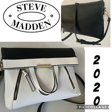 NWT STEVE MADDEN Leather Crossbody Black and White Fold Over Shoulder Bag
