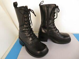 Steve Madden Airforce Wo's Sz 6.5 ~Black Leather Combat Boot ~ Zip Heel Platform