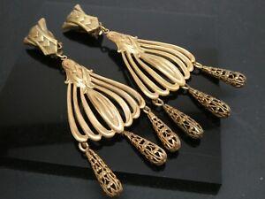 Joseff of Hollywood Ornate Filigree Goldtone Clip On Drop Dangle Earrings