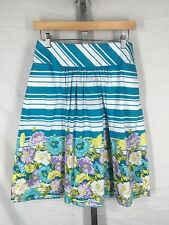 Talbots Teal White Stripe Purple Floral Skirt Size 2 New