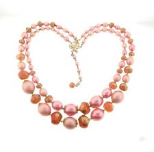 Vintage Hong Kong Plastic Bead Necklace Pink Pearl Double Strand