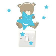 Ours En Pluche & Stars Interrupteur De Lumière Mur Autocollants Enfants Chambre à coucher Teddy Bear Fun