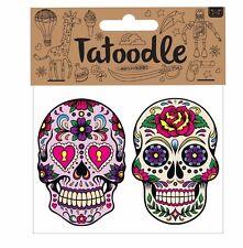 Tatoodle mexicano de azúcar Calavera/día de los muertos tatuajes temporales Paquete de 2