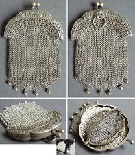 Bourse aumonière cote de maille argent massif vers1900 silver bag  62,3 gr