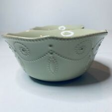 """Lenox French Perle Cereal Salad Bowls Set of 2 Pistachio 6.5"""" Scalloped"""