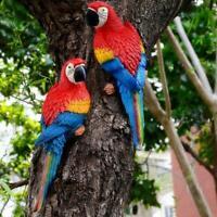 Resin Simulation Parrot Bird Sculpture Cute Wall Hanging Decor Tree Craft P3U7