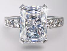 9 ct Brilliant Radiant Ring Top Brilliant CZ Imitation Moissanite SS Size 10