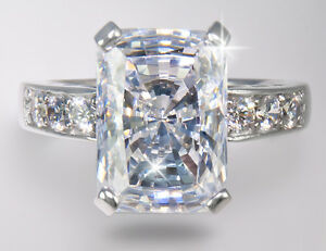 9 ct Brilliant Radiant Ring Top Brilliant CZ Imitation Moissanite SS Size 8