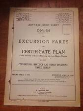 April 1926 Joint Excursion Railroad Tariff C-No. 54 of Excursion Fares