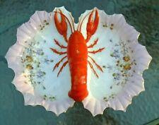 fine antique German hand painted porcelain lobster serving bowl