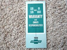 1969 Corvette, Camaro SS, Chevelle SS 12-12 and 5-50 Factory GM Warranty Broch.