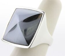 Barse Sterling Silver 925 Large Pointed Black Hematite Pyramid Ring - Size 8.5