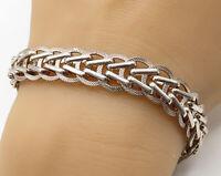 925 Sterling Silver - Vintage Modernist Linked Chain Bracelet - B2577