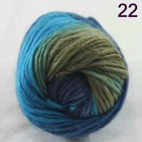 SALE NEW Chunky Colorful Hand Knitting Scores Wool Yarn Blue Royal Sand