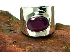Ruby plata esterlina 925 Anillo de piedras preciosas-Tamaño: M-en Caja De Regalo