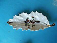 Ancienne Feuille Chêne Trogon Oiseaux Porte Savons Vintage porcelaine Limoges