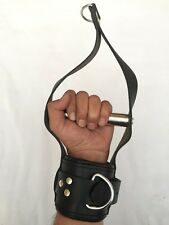 GENUINE LEATHER ADULT BONDAGE WRIST SUSPENSION PADDED CUFFS WITH RODE.