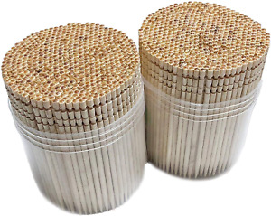 Makerstep Wooden Toothpicks 1000 Pieces Ornate Handle with Toothpicks Holder Con