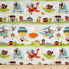 Little Flyers by Riley Blake C4570 Gray 100% cotton fabric by the yard