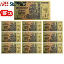 10X Zimbabwe 100 Trillion Dollars Banknote Gold Foil Bill World Money Collect ZS