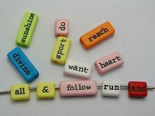 250 Assorted Acrylic Inspirational Word Beads Mixed Color Jewelry Craft DIY