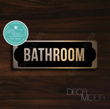 Brushed Copper Finish Bathroom Sign, Contemporary Bathroom Sign, 9 x 3 inches