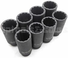 "8Pcs 1/2"" DR. Front & Back Wheel Drive 12 Point Deep Spindle Axle Nut Socket Set"