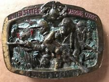 Vintage 1982 USMC United States Marines Corps First To Fight Belt Buckle Rare
