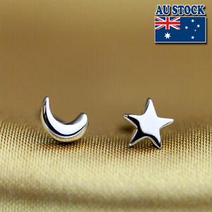 Stunning 925 Sterling Silver Star Moon Women Kids Girls Stud Earrings Jewelry