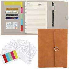 New Listing A5 6 Ring Binder Pu Leather Portfolio Case Conference Folder Yellowish Brown