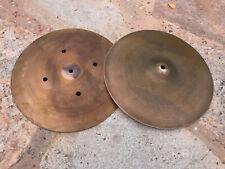 """Vintage Zildjian 14"""" Quick beat 70's Hollow Logo Hihat Drum Cymbals hi hat"""