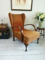Wingback Bentwood Armchair Art Deco  1930's Original Queen Anne Legs Sprung seat