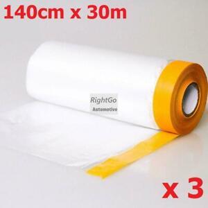 3 Rolls 140cm x 30m Pre-taped Masking film Roll PVC Plastic Dip spray rubber ...