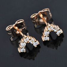 FIN003-Rose Gold Filled V Shape Girls Little Kids Sapphire Stud Earrings Womens
