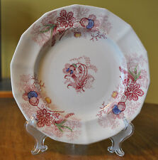 Antique Red Transferware Polychrome Staffordshire Ironstone Plate Challinor Lily