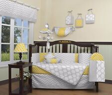 Crib Bedding Yellow Gray Chevron 13 PC Set Boy Girl Baby Infant Toddler Quilt