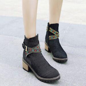 Ladies Women Denim Side Zip Riding Ankle Boots New Indian Strap Block Heel Shoes