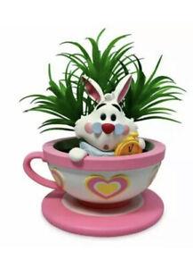 Disney Parks White Rabbit Tea Cup Faux Succulent Planter Jerrod Maruyama - NEW
