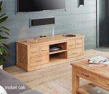Baumhaus Mobel Oak Widescreen Television Cabinet - No Veneers - Free Delivery