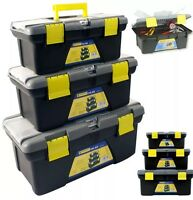 NEW 3PC PLASTIC TOOL BOX CHEST SET HANDLE TRAY & COMPARTMENT DIY STORAGE TOOLBOX