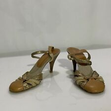 PRADA MARY JANE PUMPS HEELS SIZE 40 IT/ 9.5 US LEATHER FABRIC  MADE IN ITALY